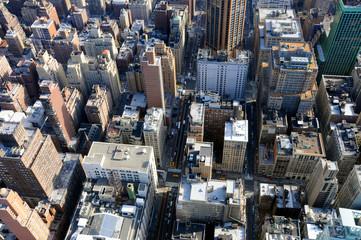 Bird view of the skyscrapers in Manhattan, New York. City area