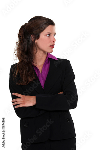 Businesswoman staring sideways