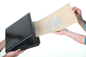 Concept shot illustrating sending an email