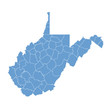 State Map of West Virginia by counties