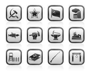 Communism, socialism and revolution icons - vector icon set