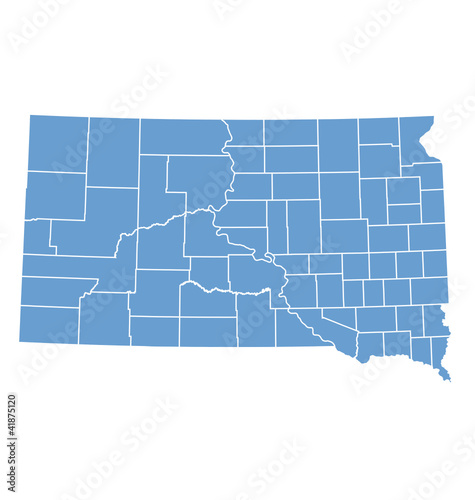 State map of South Dakota by counties
