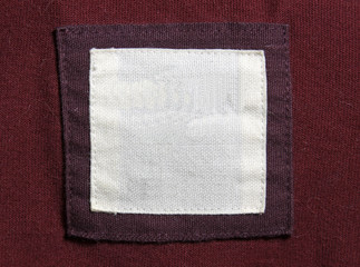 Red and Maroon Shirt Label