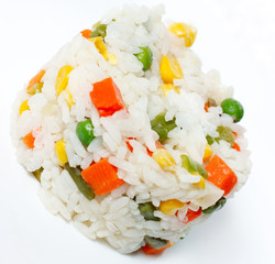 White rice with chunks of vegetables