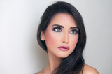 glamour portrait of a beautiful woman with fresh makeup