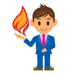 ビジネスマン イラスト 炎 火