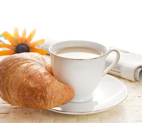morning breakfast ,cup of coffee with milk and newspaper
