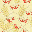 Seamless vector background with rowanberry and leaves.
