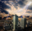 apocalypse storm in the city in Warsaw