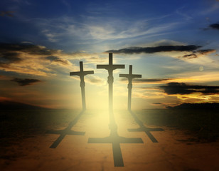 easter three crosses religion concept