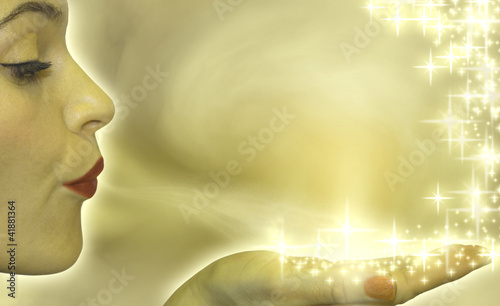 Attractive woman blowing stars presentation