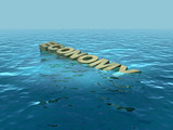 The economy sinking, in recession, output falling poster