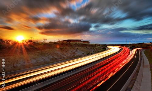 Fototapety, obrazy : Coucher de soleil sur la route des Tamarins, La Réunion.