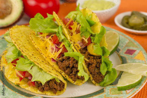Beef Tacos - Mexican minced beef tacos with salsa, cheese & lime