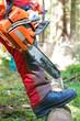 Gefahr Kettensäge Schnittschutzhose