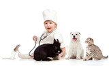 Adorable small kid doctor examining pets dog, cat, bunny and rat - 41886330