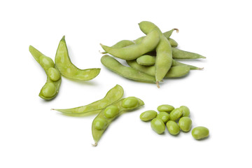 Fresh soybeans and pods