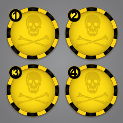 One, Two, Three, Four Warning Skull and Crossbones labels