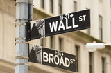 Fototapety Wall Street and Broad Street in New York City