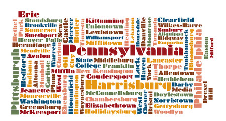 word cloud map of Pennsylvania state, usa