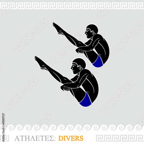 Greek art stylized divers do synchronized jump