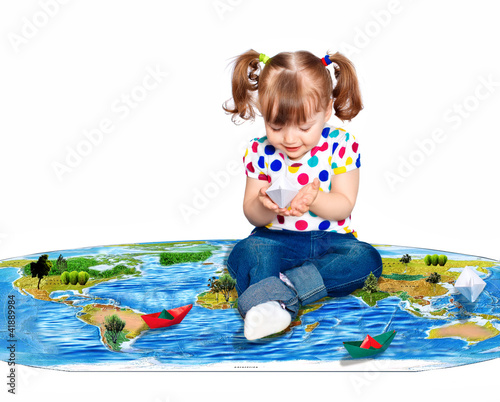 beautiful girl lets boats, isolated