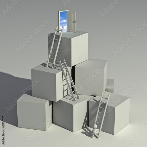 Ladder to success, 3d man climbing to the top