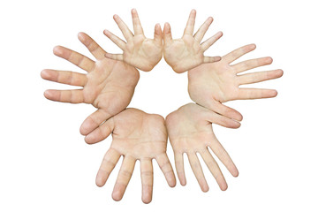 hands of different persons