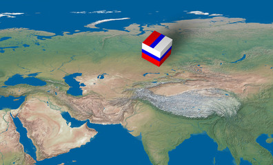 Location of Russia over the map