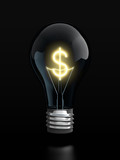 Light bulb with glowing dollar sign inside