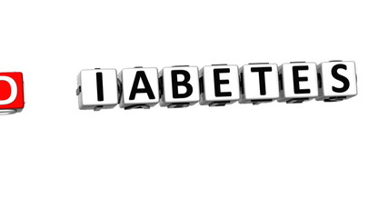 3D Diabetes Stop Crossword on white background