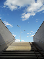 underground passage steps, light and sky