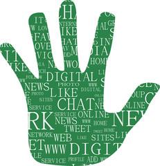 Illustration of hand, keywords on social media themes