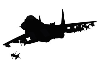 Flying  fighter firing missile. Vector silhouette