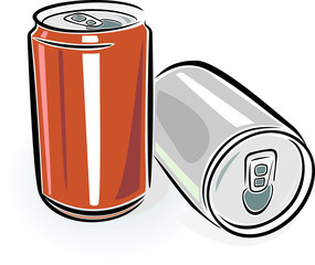 aluminum cans over white background