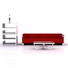 Rotes Sofa, Couchtisch, Regal und Lampe