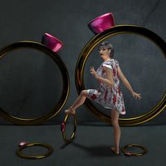 Frau mit verschiedenen Ringen