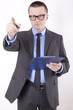 Young business man pointing forward