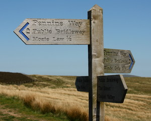 Pennine Way signpost in Cheviot Hills