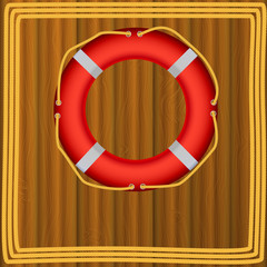Life Buoy On boards Background, ropes, Illustration.
