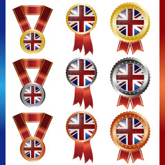 united kingdom union jack  medal set