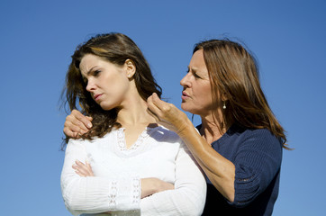 Mother and daughter having a dispute or discussion