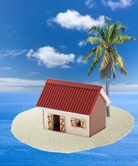 concept île vacances, case créole sous cocotier