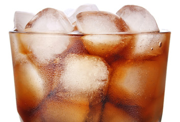 cola with ice in glass isolated on white background