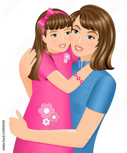 Happy daughter hugging her mother on Mother's Day.
