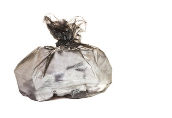 close up of a garbage bag on white background