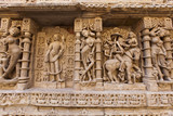 Statues at the Rani Ki Vav step well, Patan, Gujarat, India poster