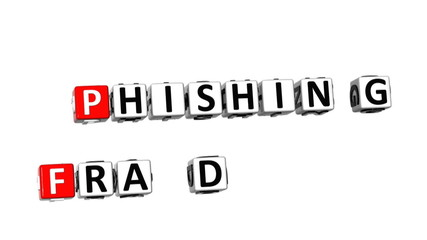 3D Phishing Virus Fraud Danger Crossword on white background
