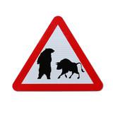 Bear Versus Bull (Conceptual Road Sign) poster
