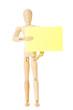 Modellpuppe mit gelbem Zettel